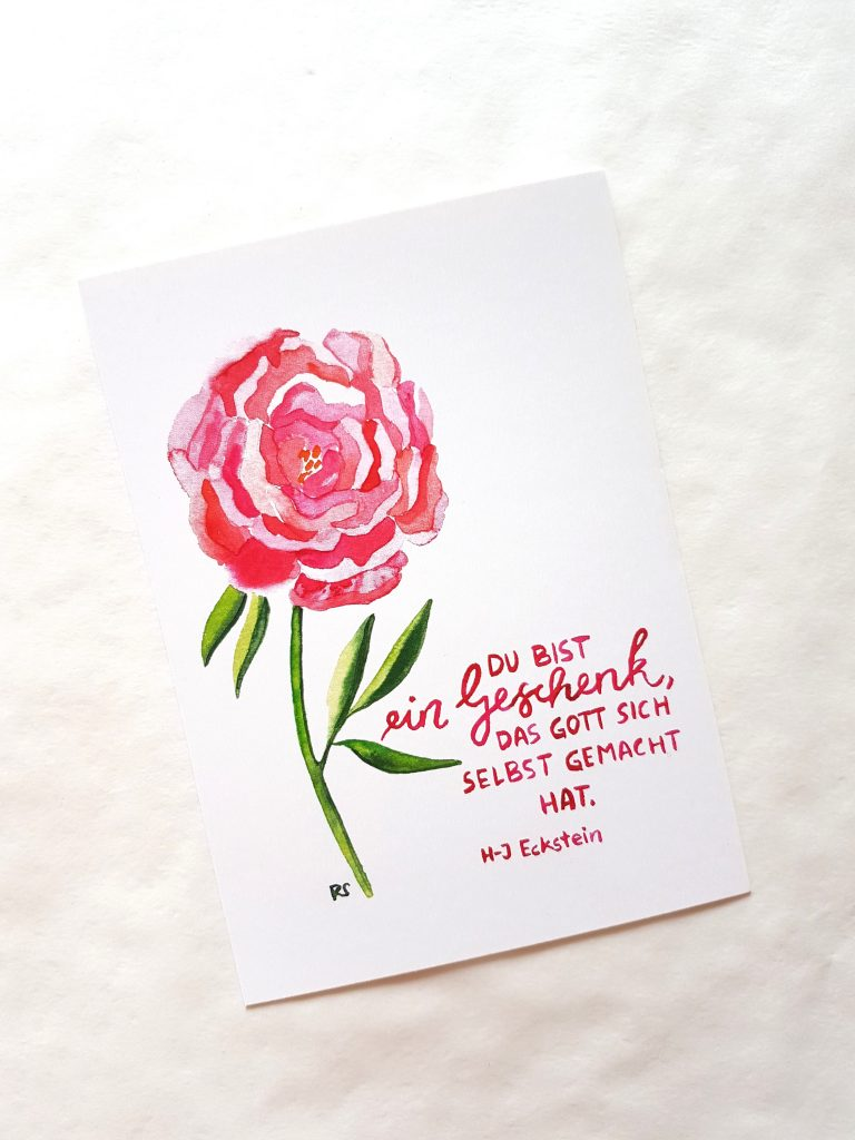 Postkarte Pfingstrose