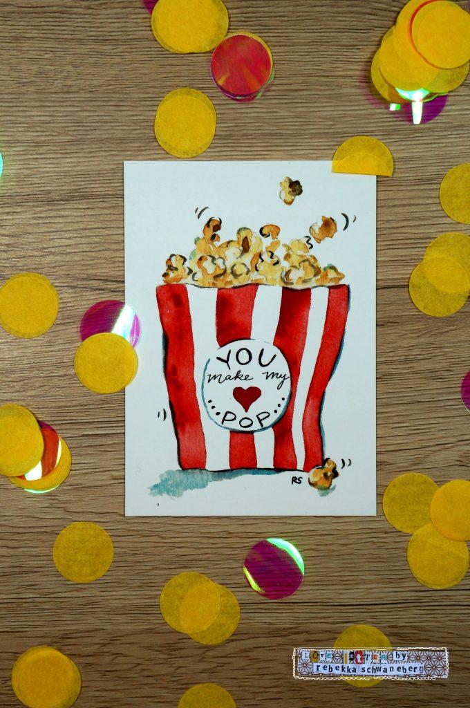 Postkarte Popcorn
